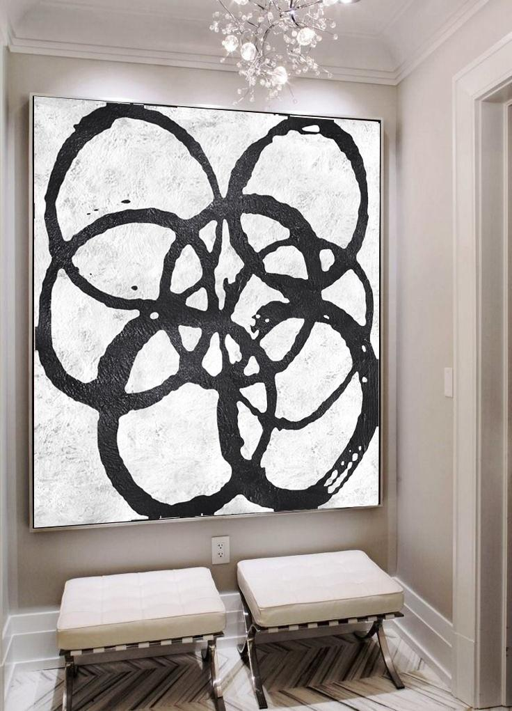 Abstract Painting Extra Large Canvas Art,Oversized Minimal Black And White Painting - Hand Paint Large Art