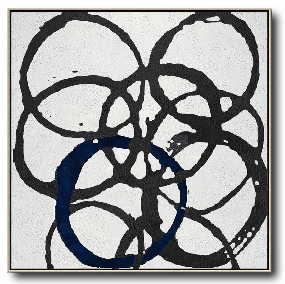 Modern Art,Oversized Minimal Black And White Painting - Large Abstract Wall Art