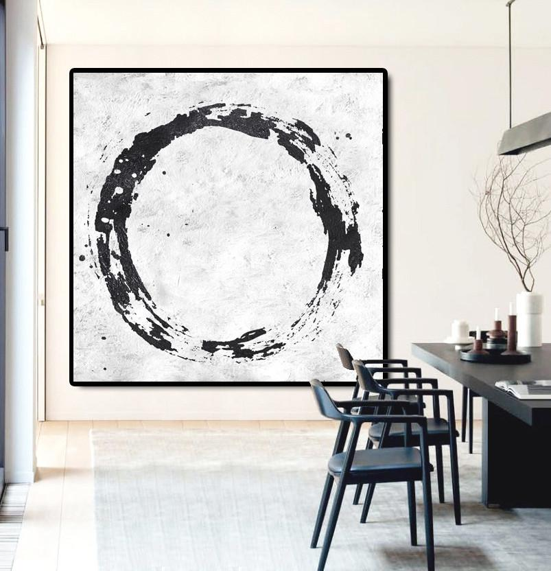 Handmade Painting Large Abstract Art,Oversized Minimal Black And White Painting - Modern Paintings