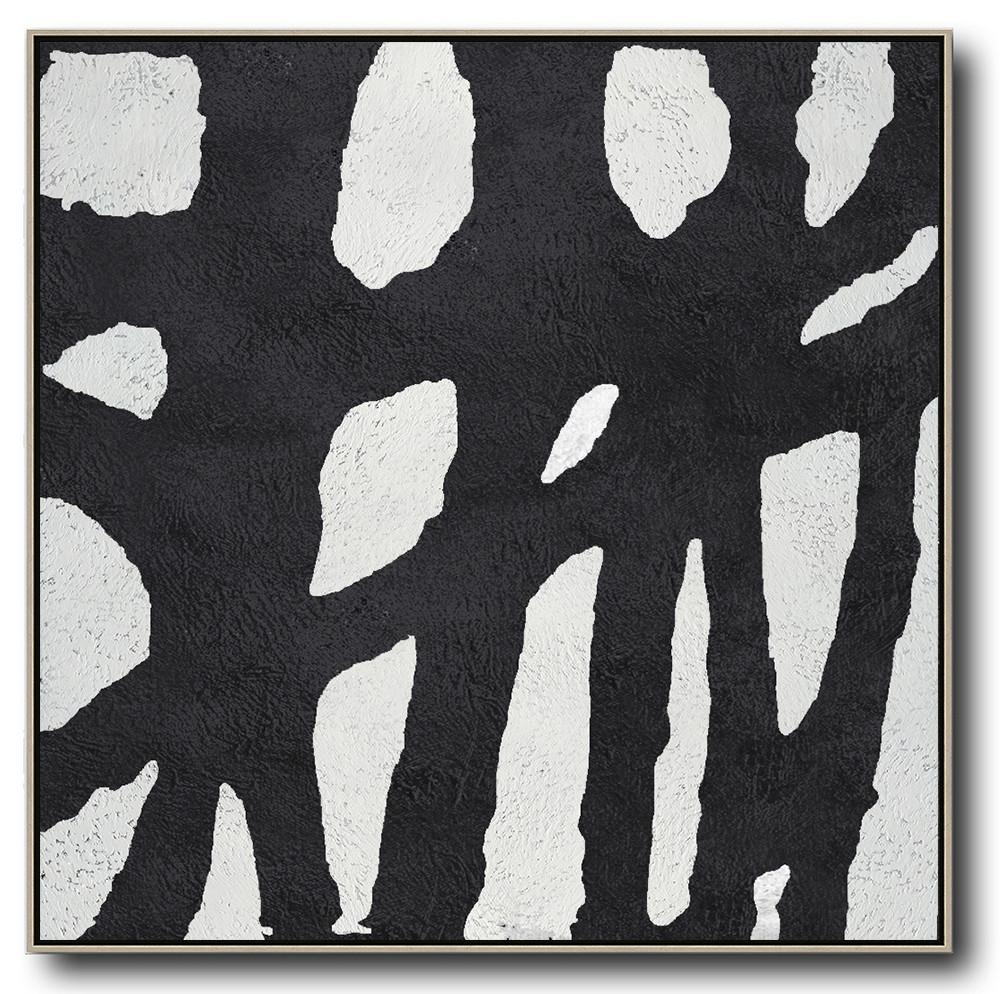 Hand Made Abstract Art,Oversized Minimal Black And White Painting - Oversized Canvas Art