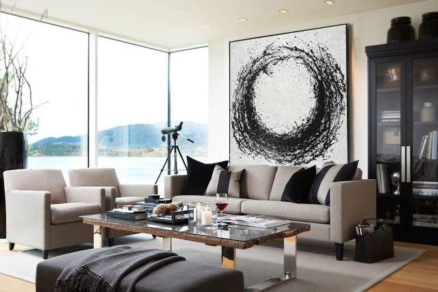 Abstract Painting Extra Large Canvas Art,Oversized Minimal Black And White Painting - Wall Art Ideas For Living Room