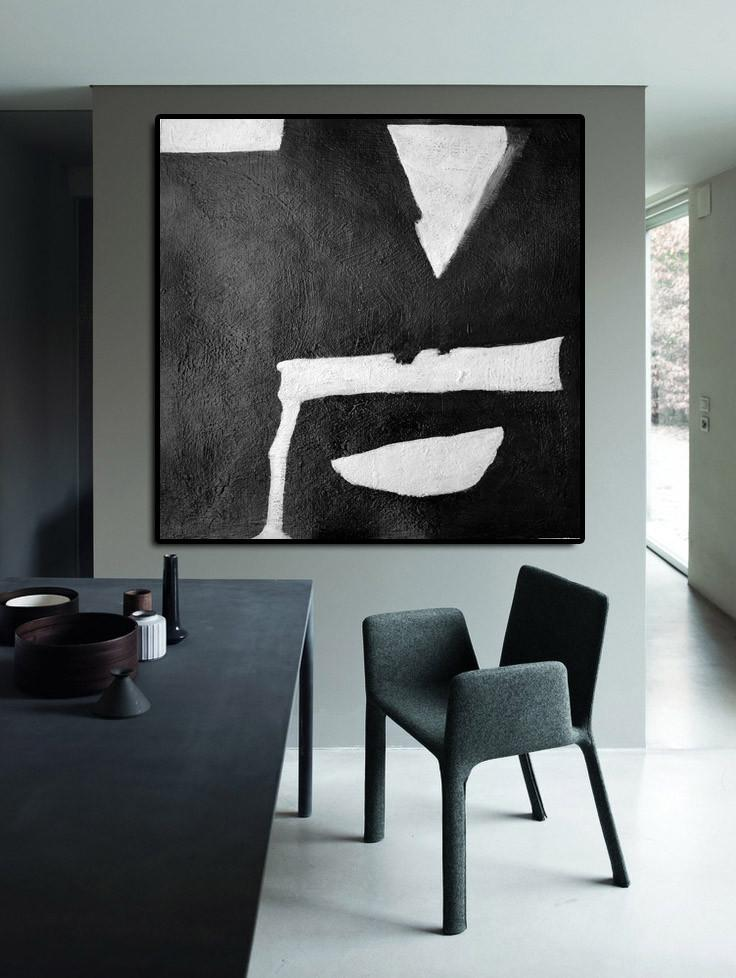 Handmade Extra Large Contemporary Painting,Oversized Minimal Black And White Painting - Abstract Oil Painting