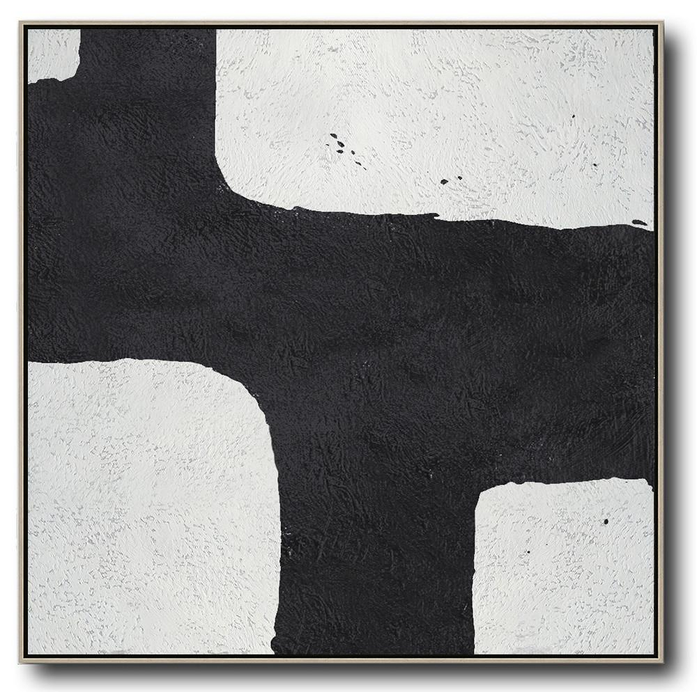 Extra Large Textured Painting On Canvas,Oversized Minimal Black And White Painting - Modern Paintings