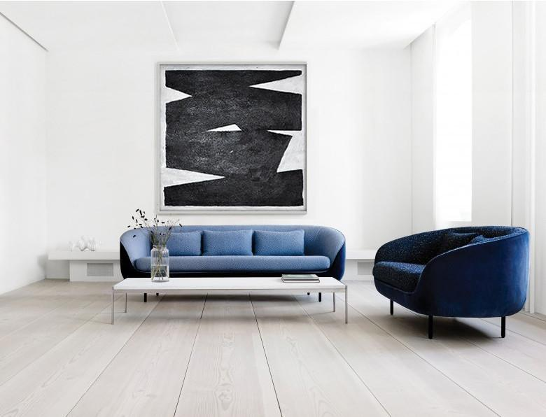 Oversized Canvas Art On Canvas,Oversized Minimal Black And White Painting - Canvas Wall Art
