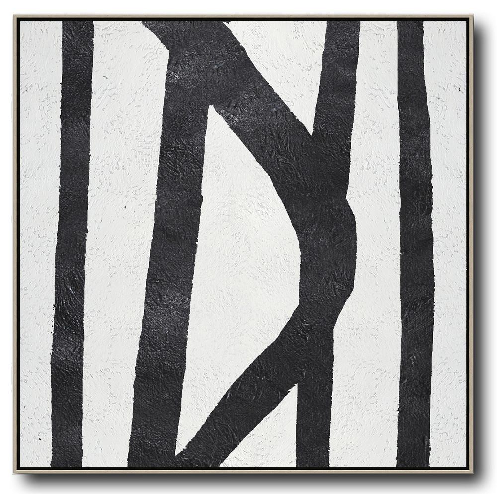 Large Abstract Art,Oversized Minimal Black And White Painting - Modern Art