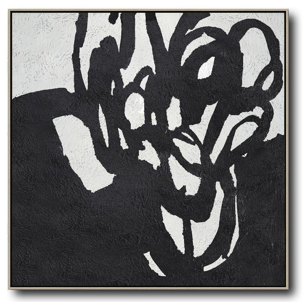 Big Painting,Oversized Minimal Black And White Painting - Contemporary Canvas Paintings