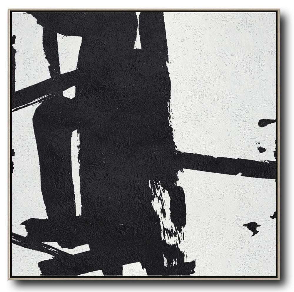 Large Modern Abstract Painting,Oversized Minimal Black And White Painting - Canvas Paintings For Sale