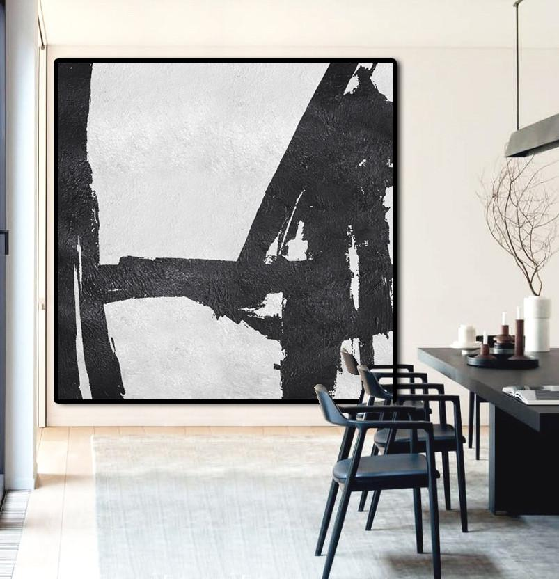 Huge Abstract Painting On Canvas,Oversized Minimal Black And White Painting - Large Living Room Wall Decor