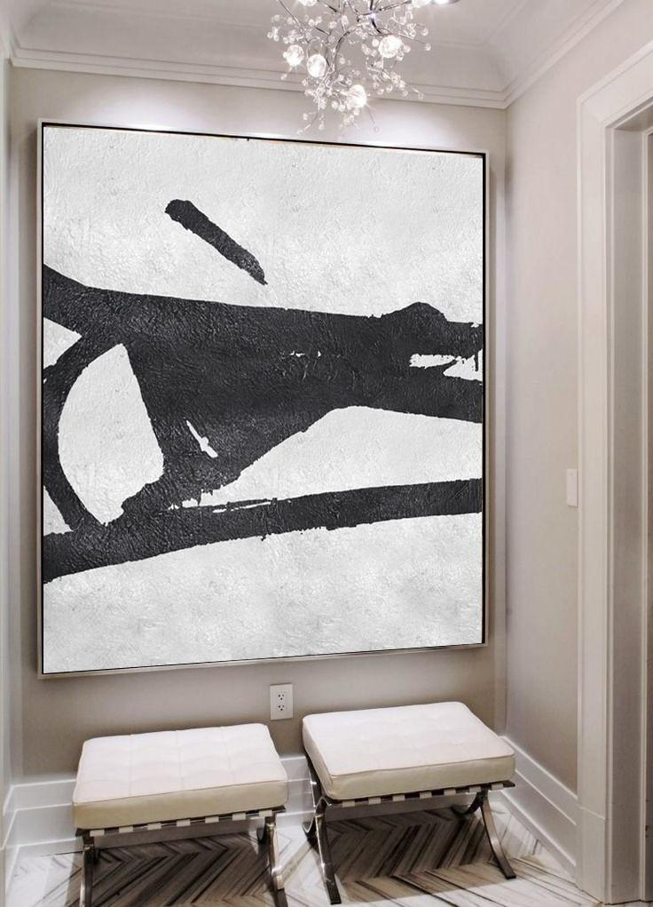 Original Painting Hand Made Large Abstract Art,Oversized Minimal Black And White Painting - Wall Art Painting