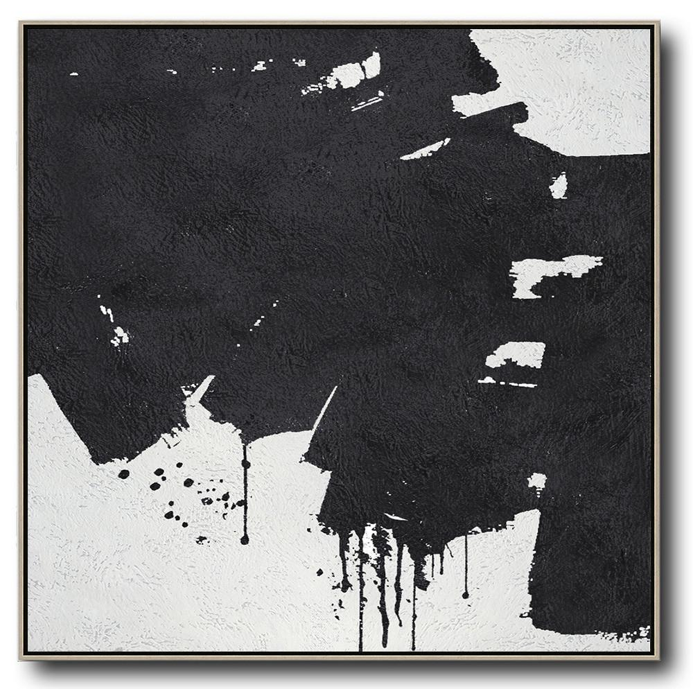 Hand Painted Extra Large Abstract Painting,Oversized Minimal Black And White Painting - Home Decor Canvas