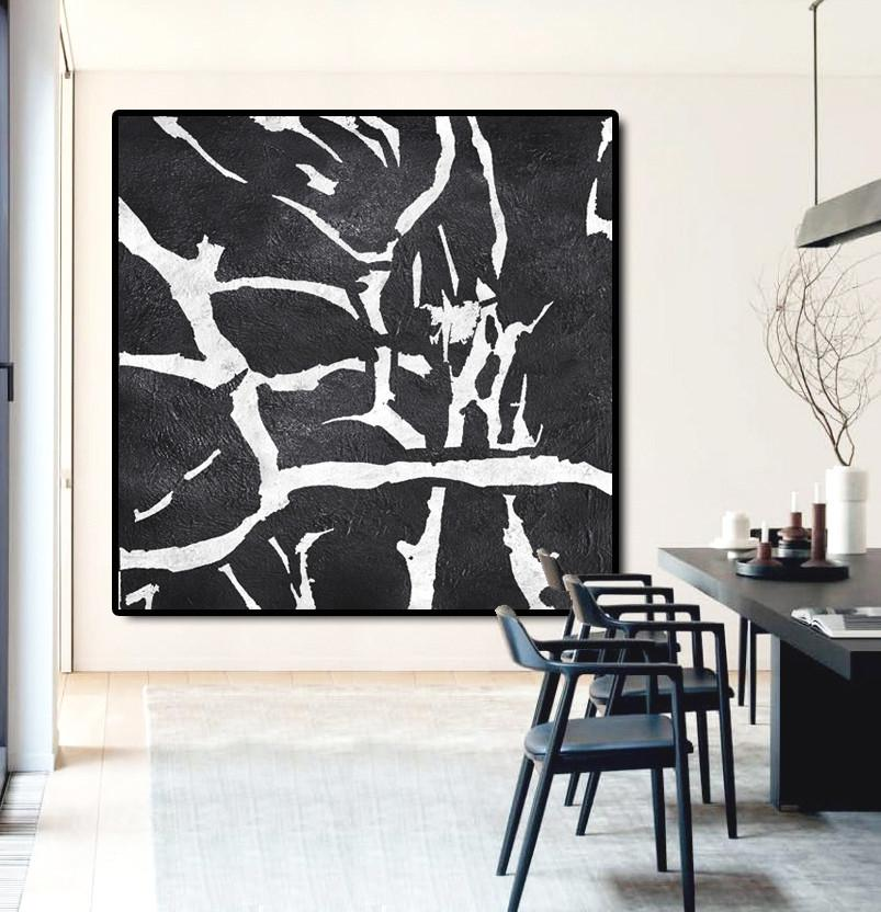 Big Canvas Painting,Oversized Minimal Black And White Painting - Original Abstract Painting Canvas Art