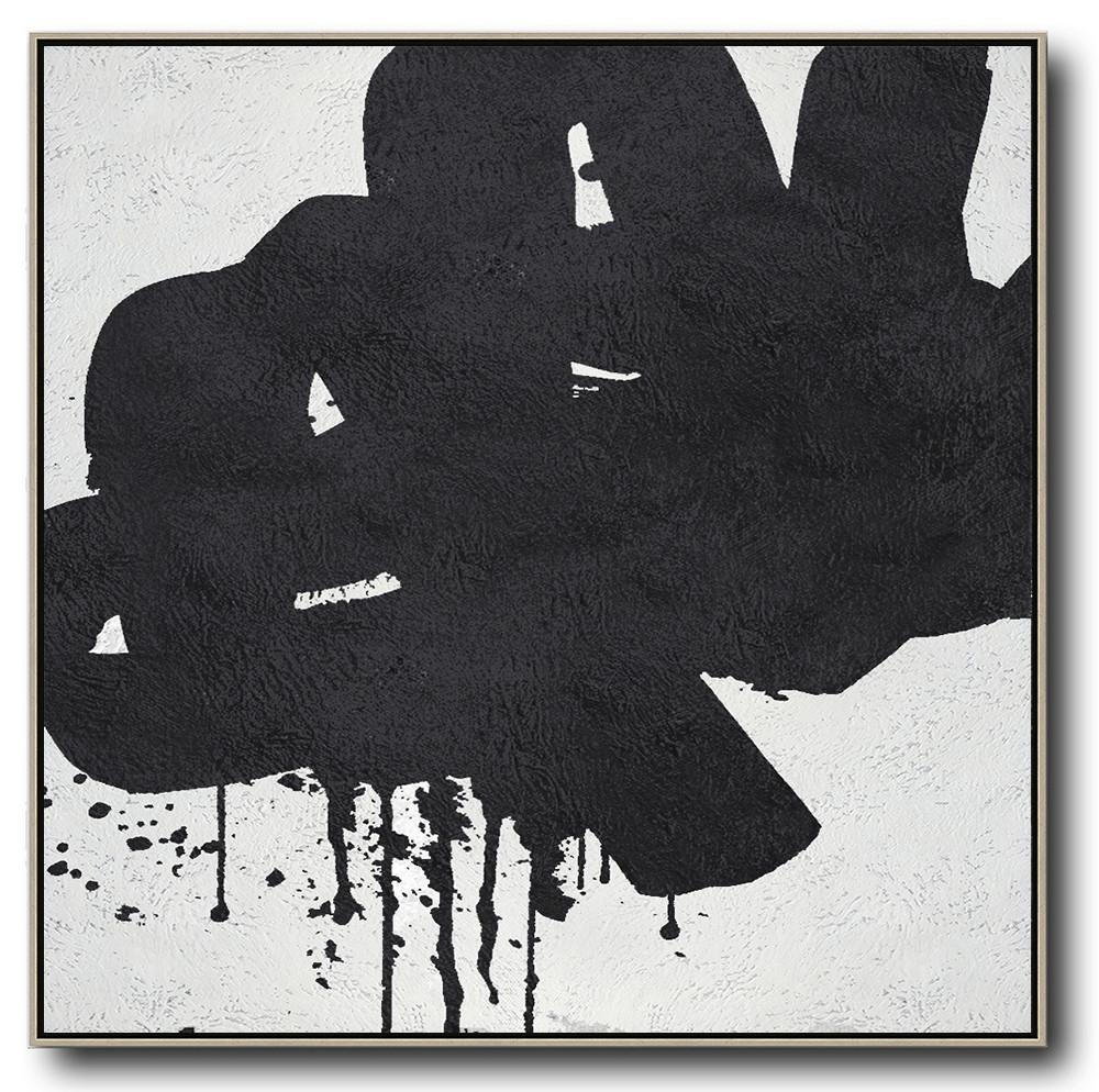 Extra Large Abstract Painting On Canvas,Oversized Minimal Black And White Painting - Huge Wall Decor