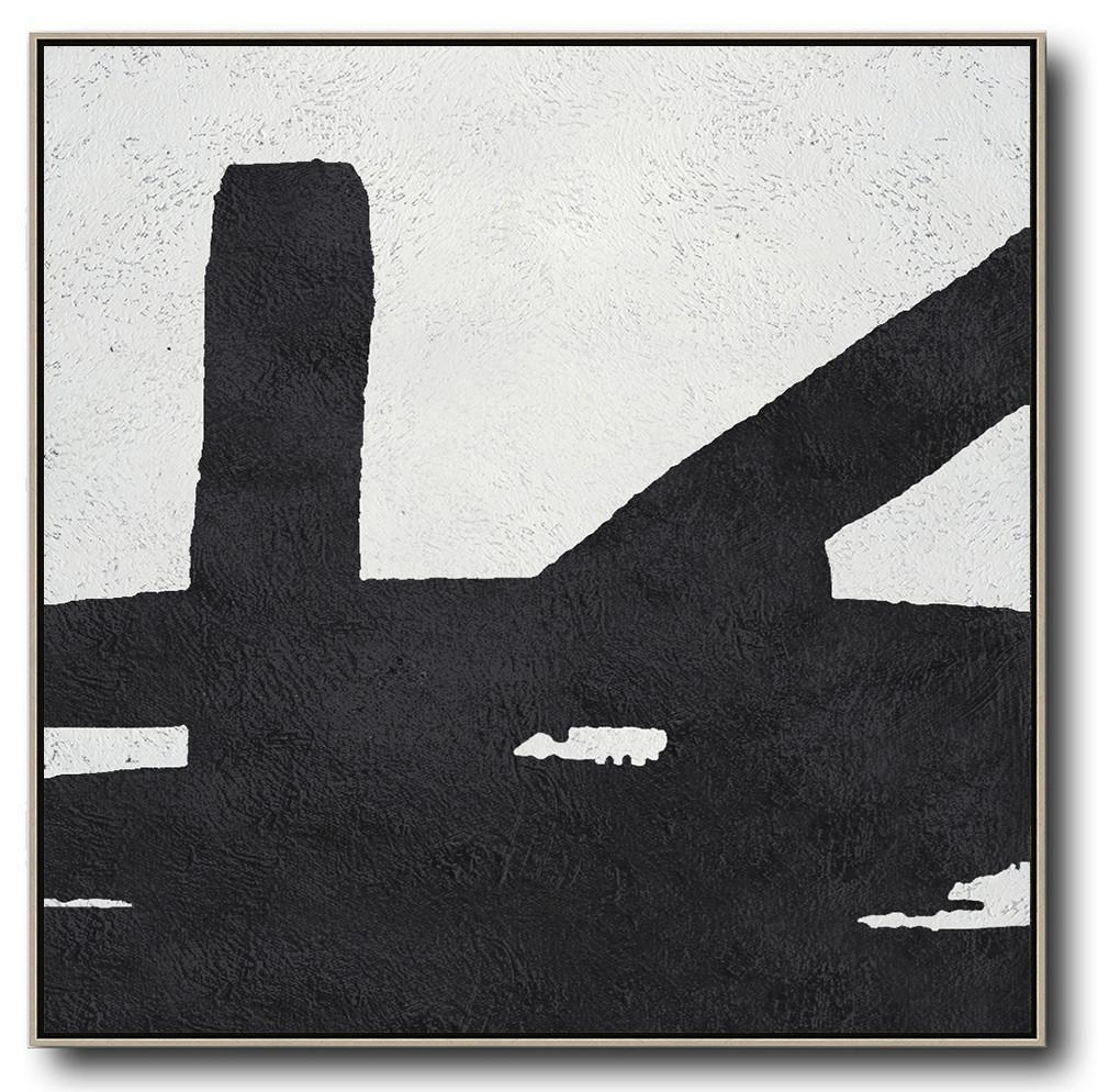Large Abstract Painting,Oversized Minimal Black And White Painting - Hand Painted Canvas Art