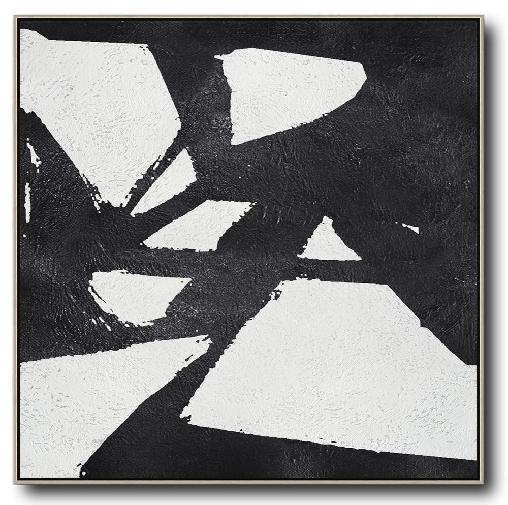 Large Abstract Art,Oversized Minimal Black And White Painting - Contemporary Artwork