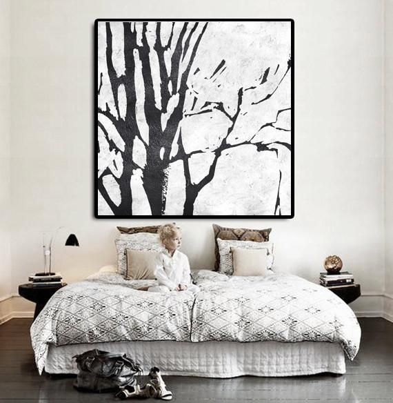 Abstract Painting Extra Large Canvas Art,Oversized Minimal Black And White Painting - Large Abstract Wall Art