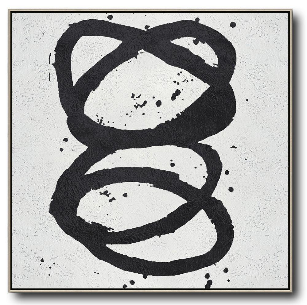 Large Modern Abstract Painting,Oversized Minimal Black And White Painting - Modern Painting Abstract