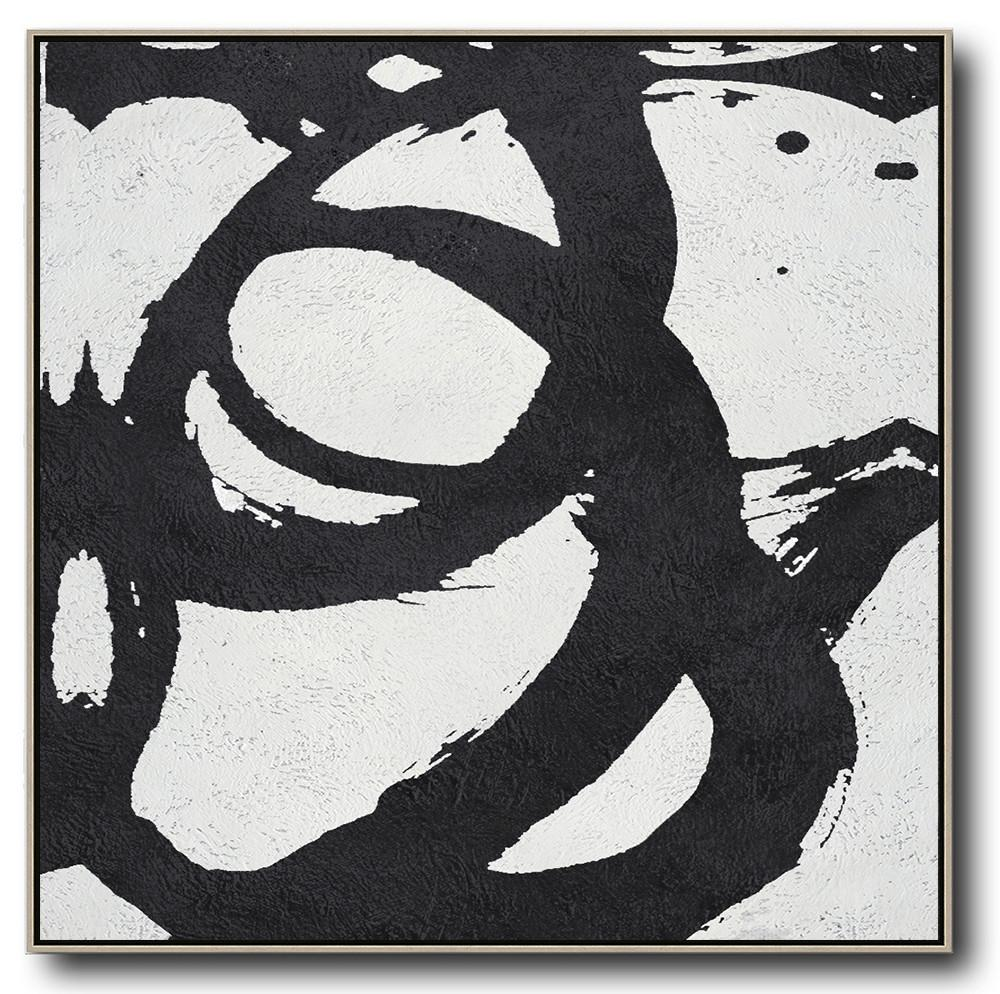 Original Painting Hand Made Large Abstract Art,Oversized Minimal Black And White Painting - Custom Oil Painting