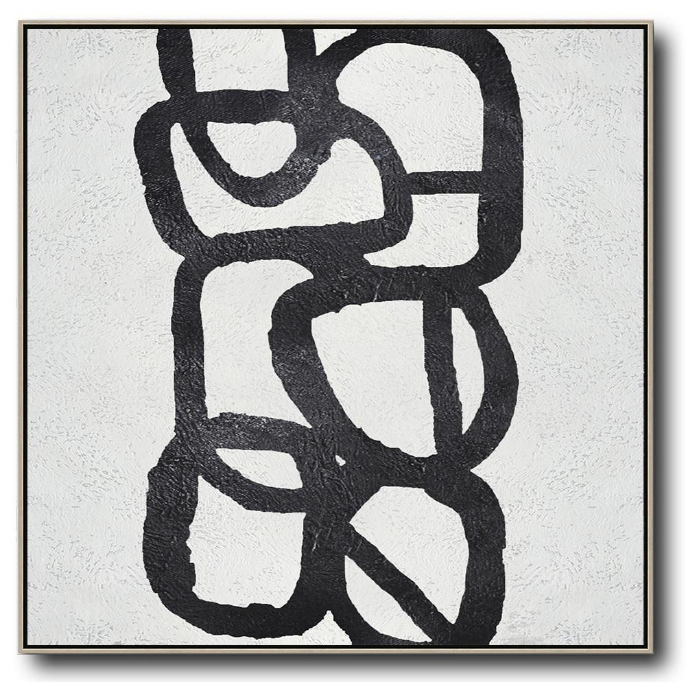 Large Abstract Painting On Canvas,Oversized Minimal Black And White Painting - Abstract Artwork Online