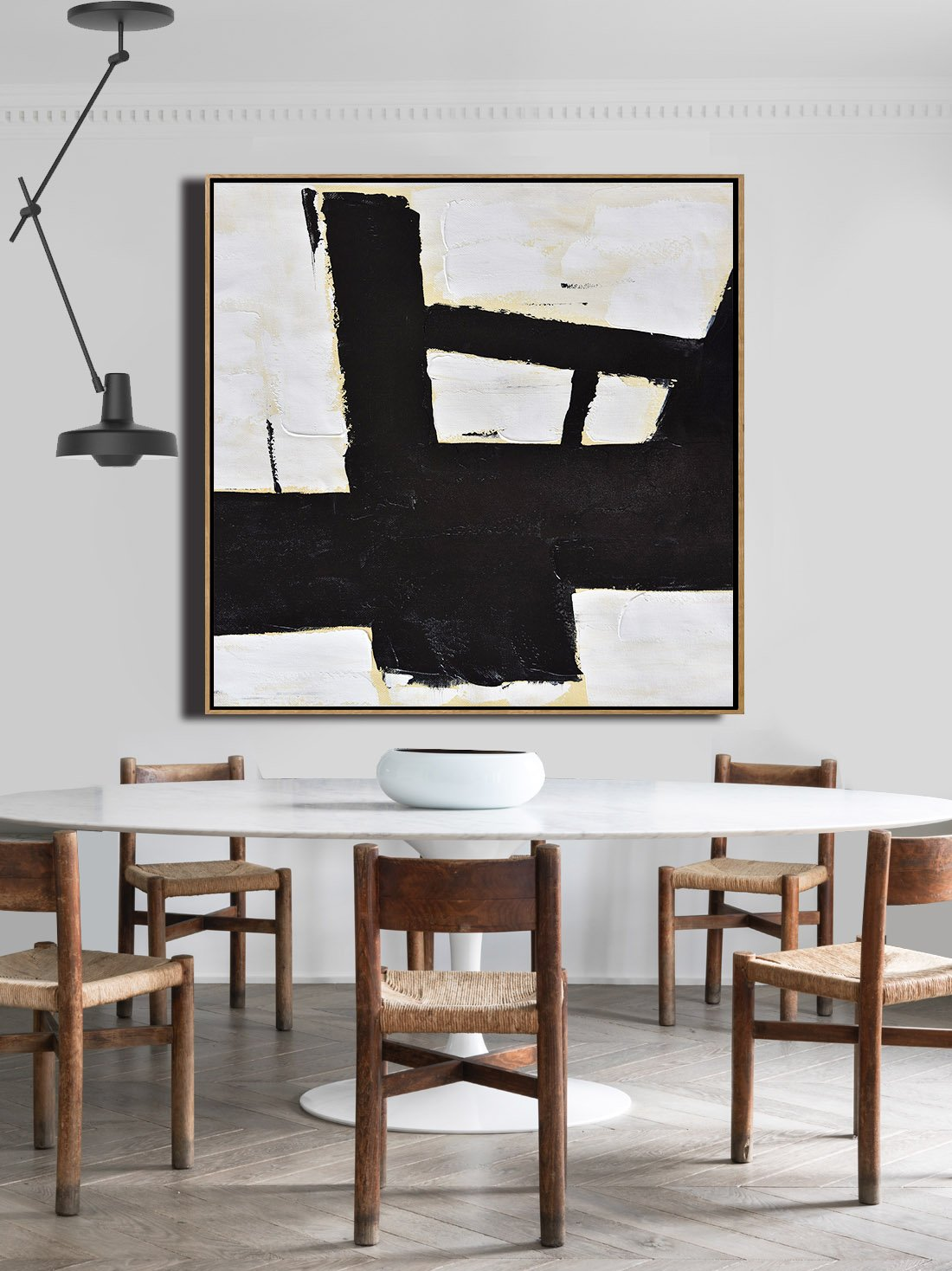 Abstract Painting Extra Large Canvas Art,Handmade Minimal Art Palette Knife Canvas Painting, Black White Beige - Hand Painted Aclylic Painting On Canvas - Click Image to Close