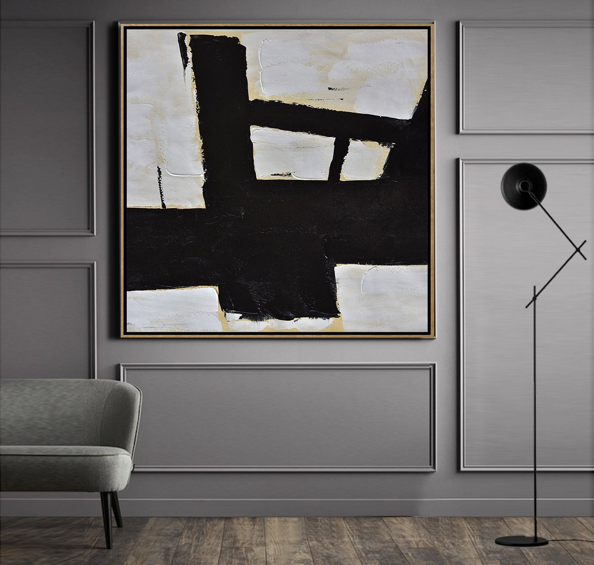 Abstract Painting Extra Large Canvas Art,Handmade Minimal Art Palette Knife Canvas Painting, Black White Beige - Hand Painted Aclylic Painting On Canvas