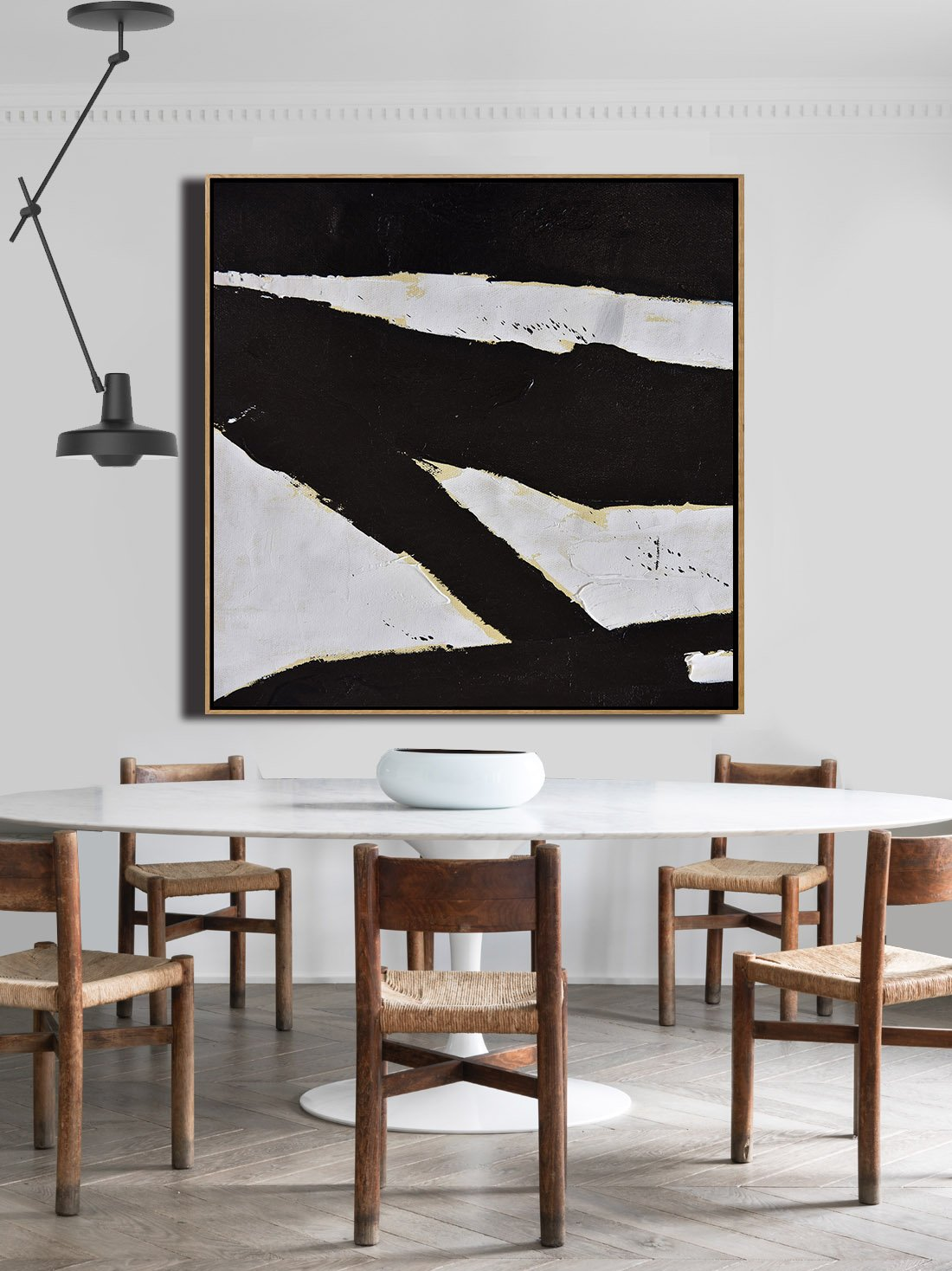 Hand Painted Extra Large Abstract Painting,Handmade Minimal Art Palette Knife Canvas Painting, Black White Beige - Acrylic Painting On Canvas