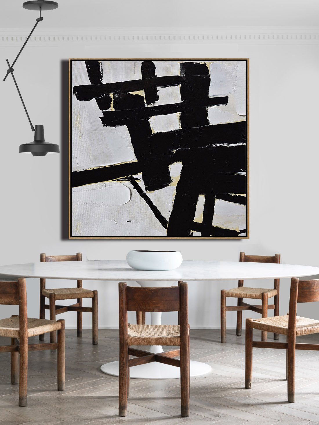 Original Abstract Painting Extra Large Canvas Art,Handmade Minimal Art Palette Knife Canvas Painting, Black White Beige - Huge Canvas Art On Canvas