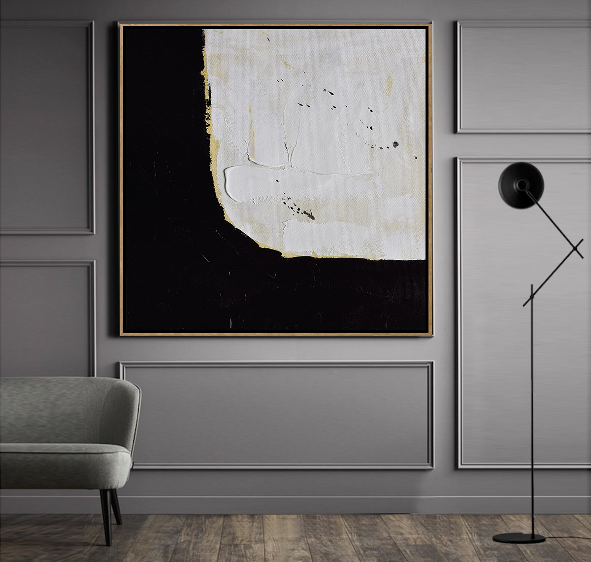 Handmade Painting Large Abstract Art,Handmade Minimal Art Palette Knife Canvas Painting, Black White Beige - Living Room Wall Art