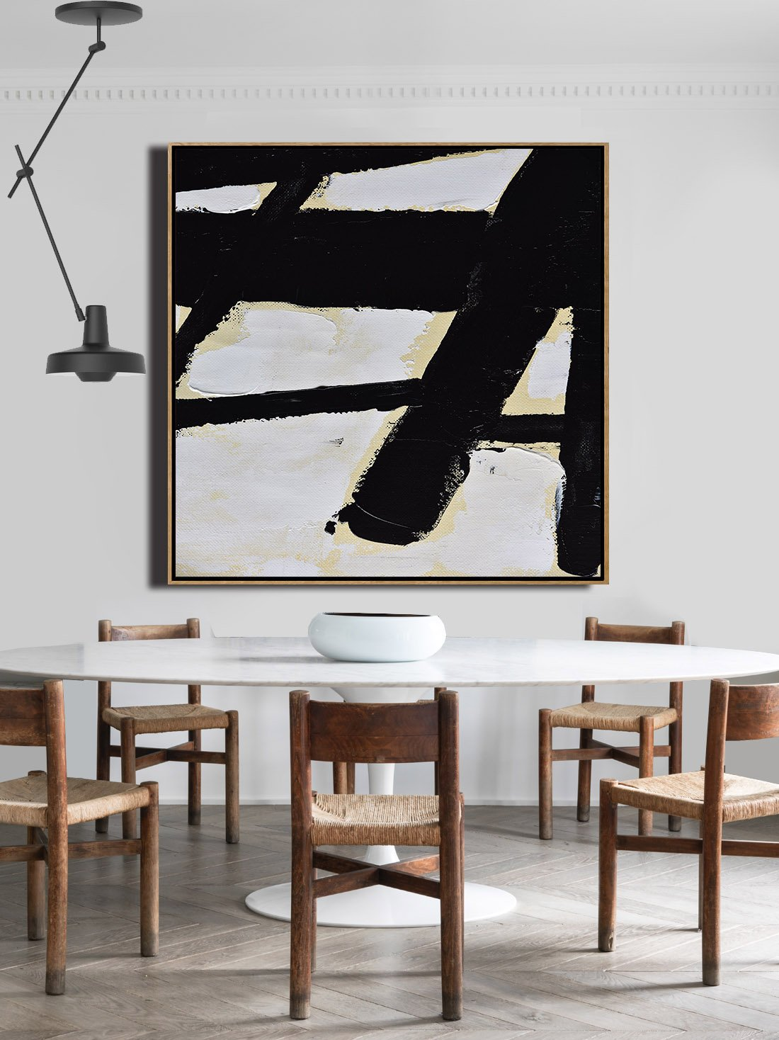 Large Abstract Painting Canvas Art,Handmade Minimal Art Palette Knife Canvas Painting, Black White Beige - Living Room Canvas Art