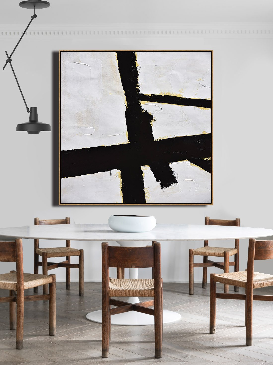 Handmade Painting Large Abstract Art,Handmade Minimal Art Palette Knife Canvas Painting, Black White Beige - Hand Made Original Art