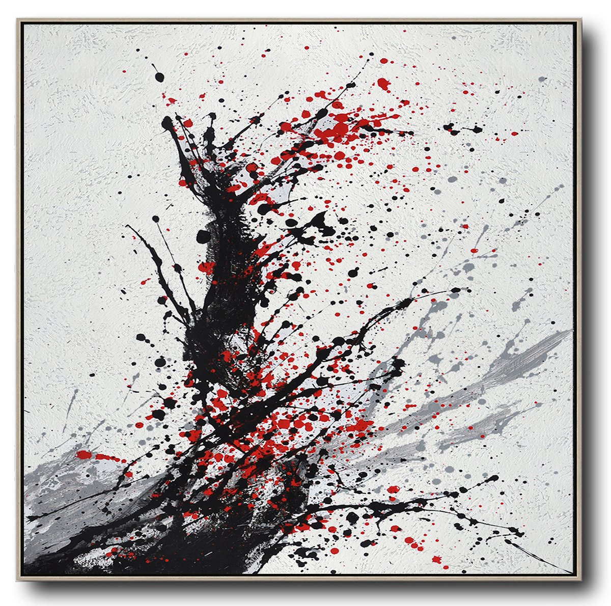 Original Abstract Painting Extra Large Canvas Art,Minimalist Drip Painting On Canvas, Black, White, Grey, Red - Modern Art Abstract Painting