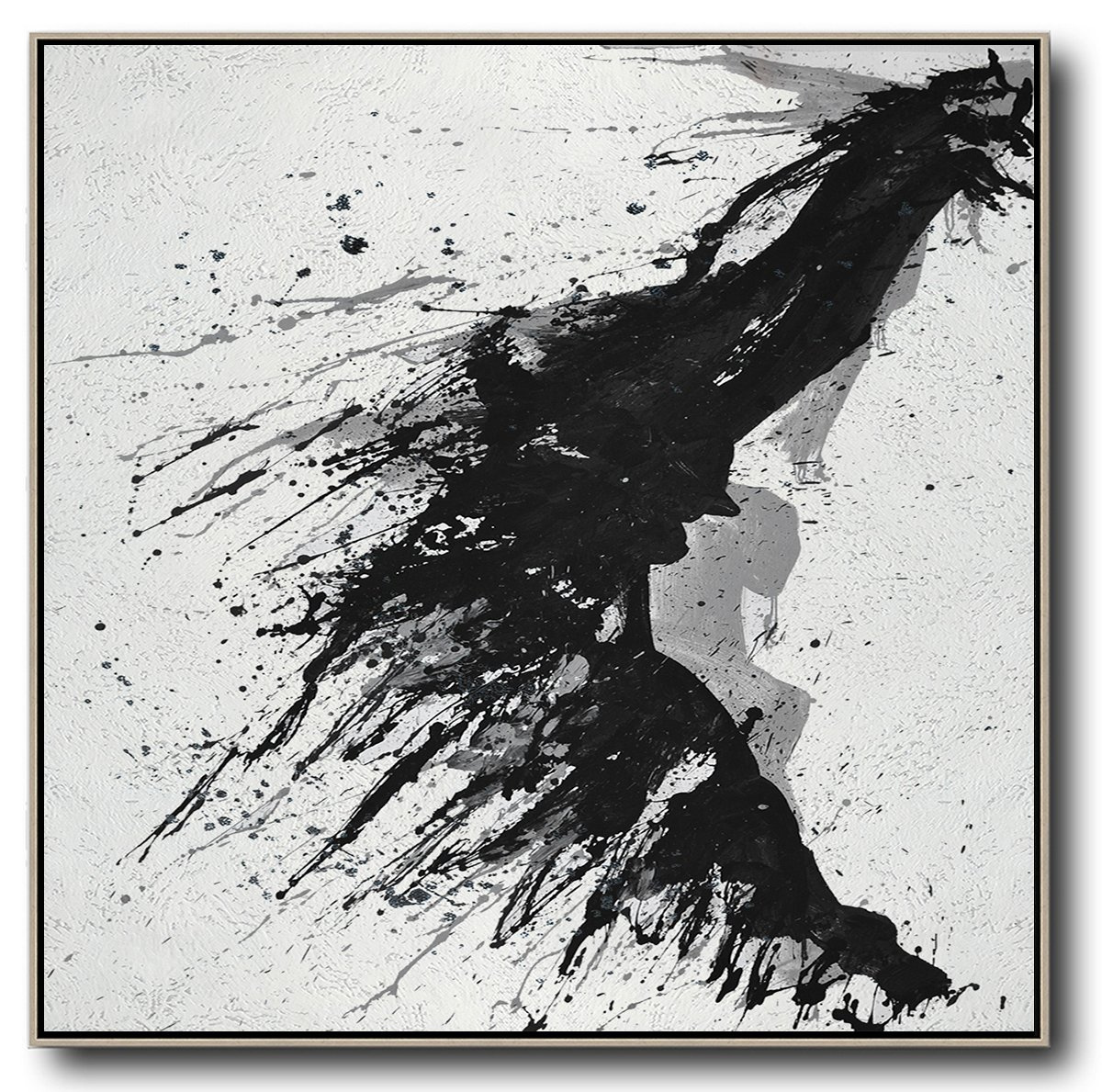 Large Abstract Painting,Minimalist Drip Painting On Canvas, Black, White, Grey - Original Art Acrylic Painting