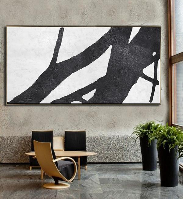 Acrylic Painting Large Wall Art,Oversized Panoramic Minimal Art On Canvas - Canvas Wall Art Home Decor