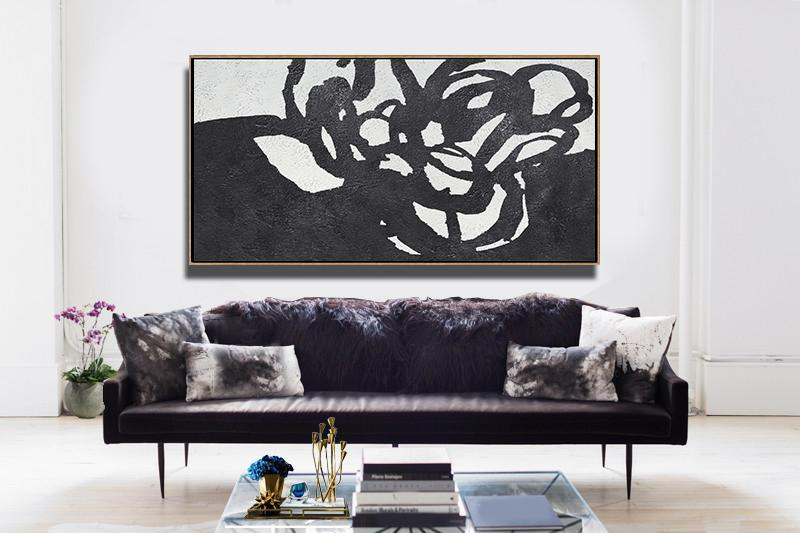 Abstract Art Decor Large Canvas Painting,Oversized Horizontal Minimal Art On Canvas - Hand-Painted Contemporary Art