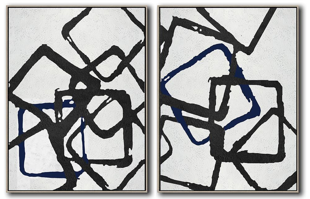 Handmade Large Painting,Set Of 2 Minimal Painting On Canvas - Abstract Oil Painting