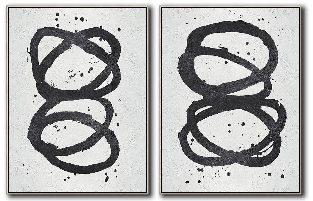 Handmade Large Contemporary Art,Set Of 2 Minimal Painting On Canvas - Large Living Room Wall Decor