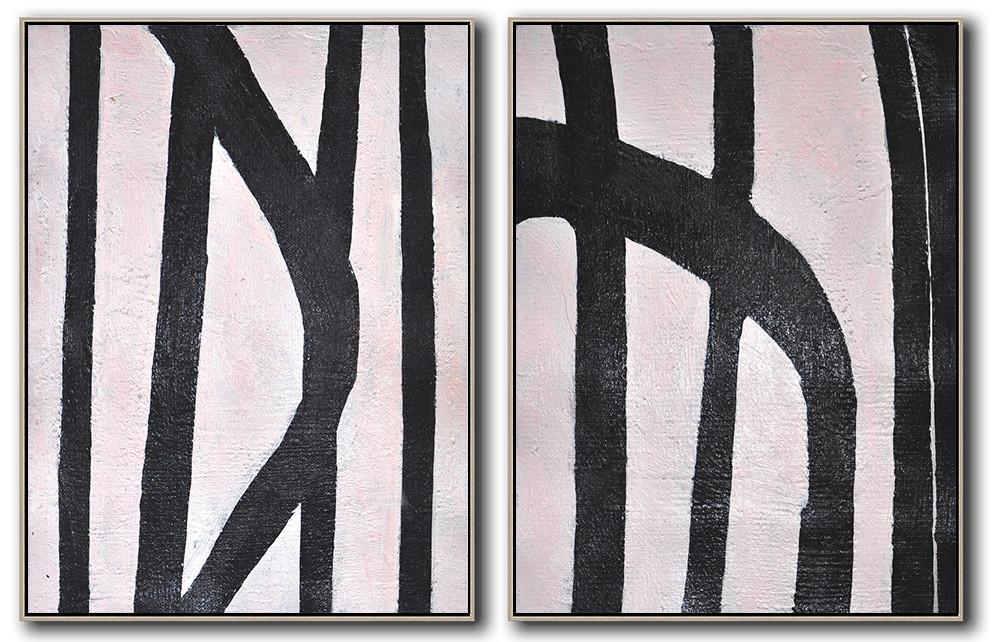 Huge Abstract Painting On Canvas,Set Of 2 Minimal Painting On Canvas - Pop Art Canvas