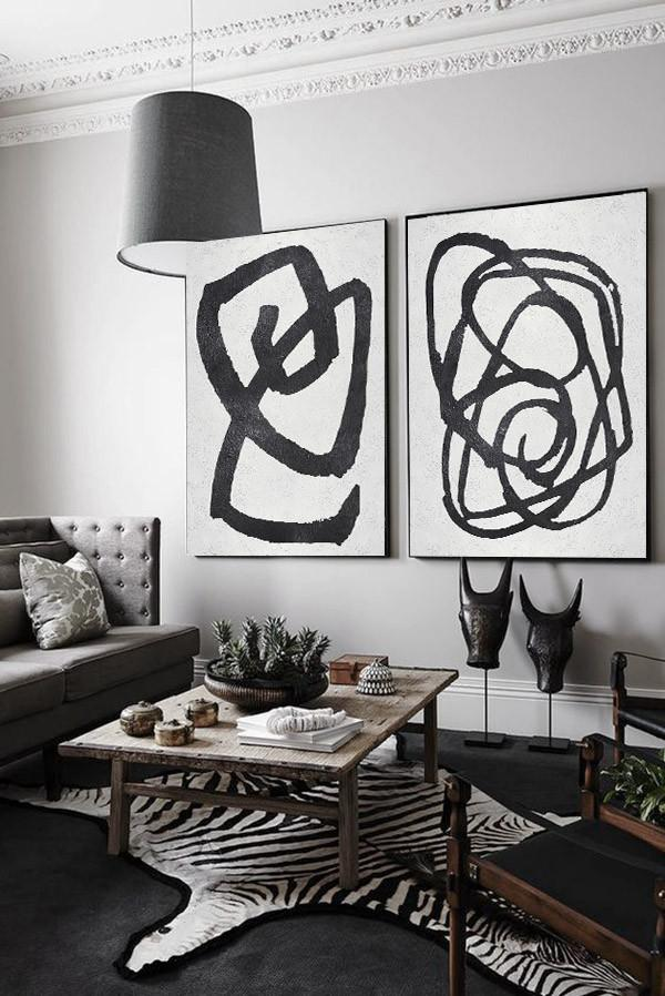 Extra Large Acrylic Painting On Canvas,Set Of 2 Minimal Painting On Canvas - Canvas Artwork For Living Room
