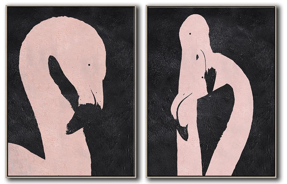 Handmade Large Contemporary Art,Set Of 2 Minimal Painting On Canvas - Acrylic On Canvas Abstract