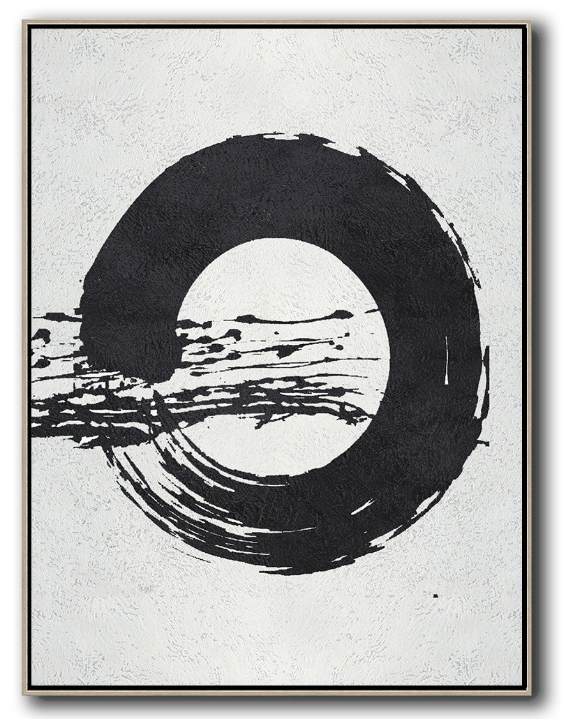 Large Abstract Art Handmade Oil Painting,Black And White Minimal Painting On Canvas - Home Canvas Wall Art
