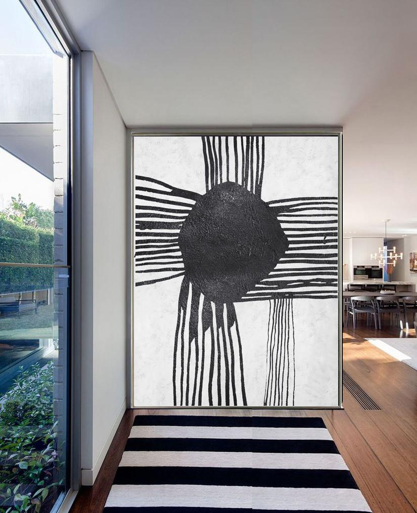Acrylic Painting Canvas Art,Black And White Minimal Painting On Canvas - Abstract Paintings On Sale