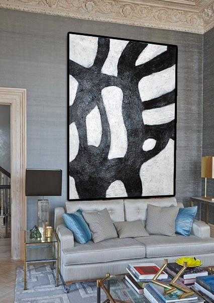 Handmade Large Contemporary Art,Black And White Minimal Painting On Canvas - Large Wall Canvas Paintings