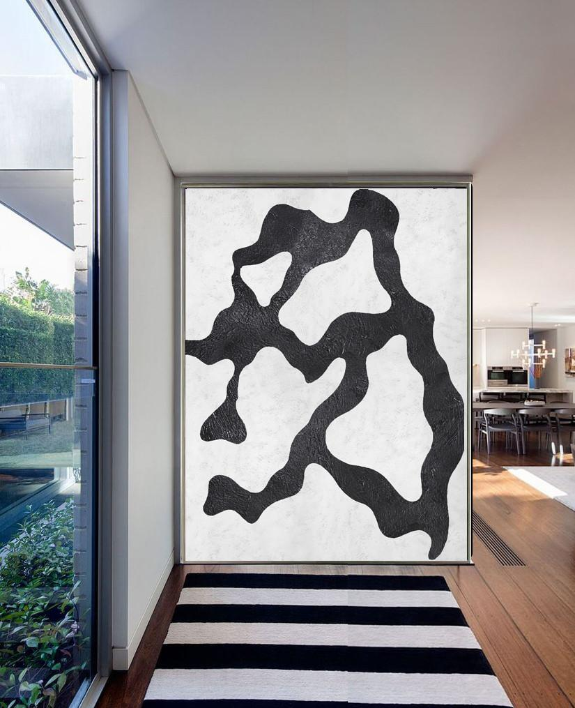 Large Modern Abstract Painting,Black And White Minimal Painting On Canvas - Huge Wall Decor