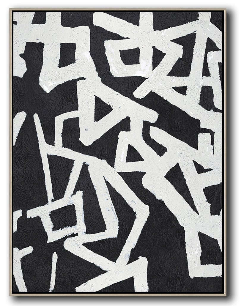 Huge Abstract Painting On Canvas,Black And White Minimal Painting On Canvas - Decorating A Big Living Room