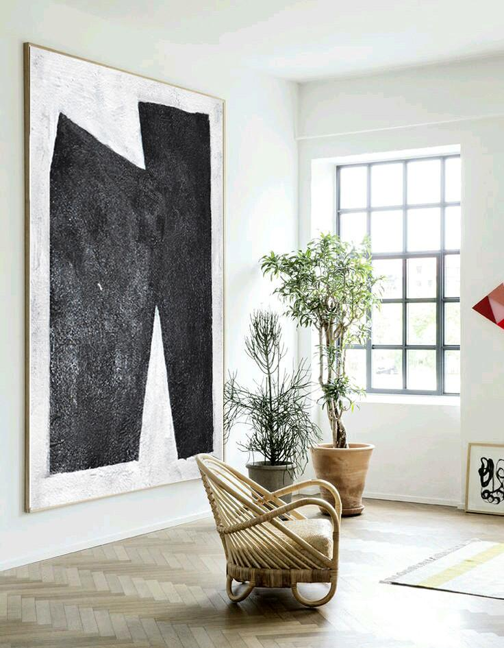 Extra Large Painting,Black And White Minimal Painting On Canvas - Bedroom Wall Decor