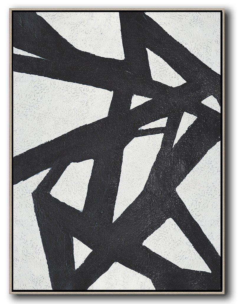 "Extra Large 72"" Acrylic Painting,Black And White Minimal Painting On Canvas - Pretty Abstract Paintings"