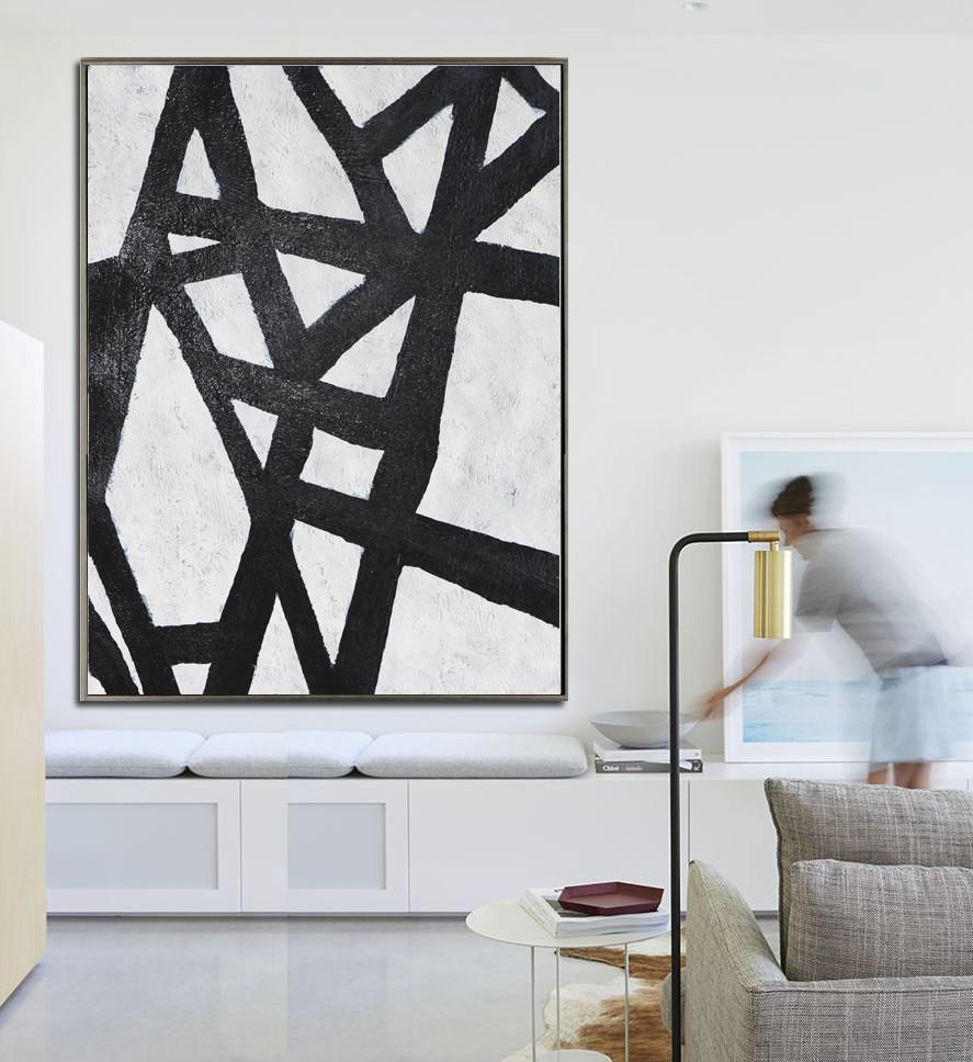 Canvas Painting Wall Decor,Black And White Minimal Painting On Canvas - Multicolor Abstract Painting