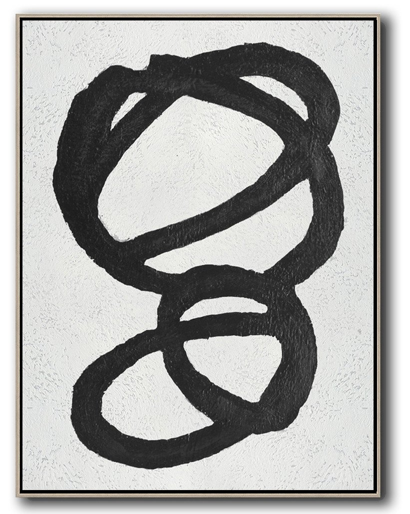 Contemporary Art Acrylic Painting,Black And White Minimal Painting On Canvas - Modern Canvas Art