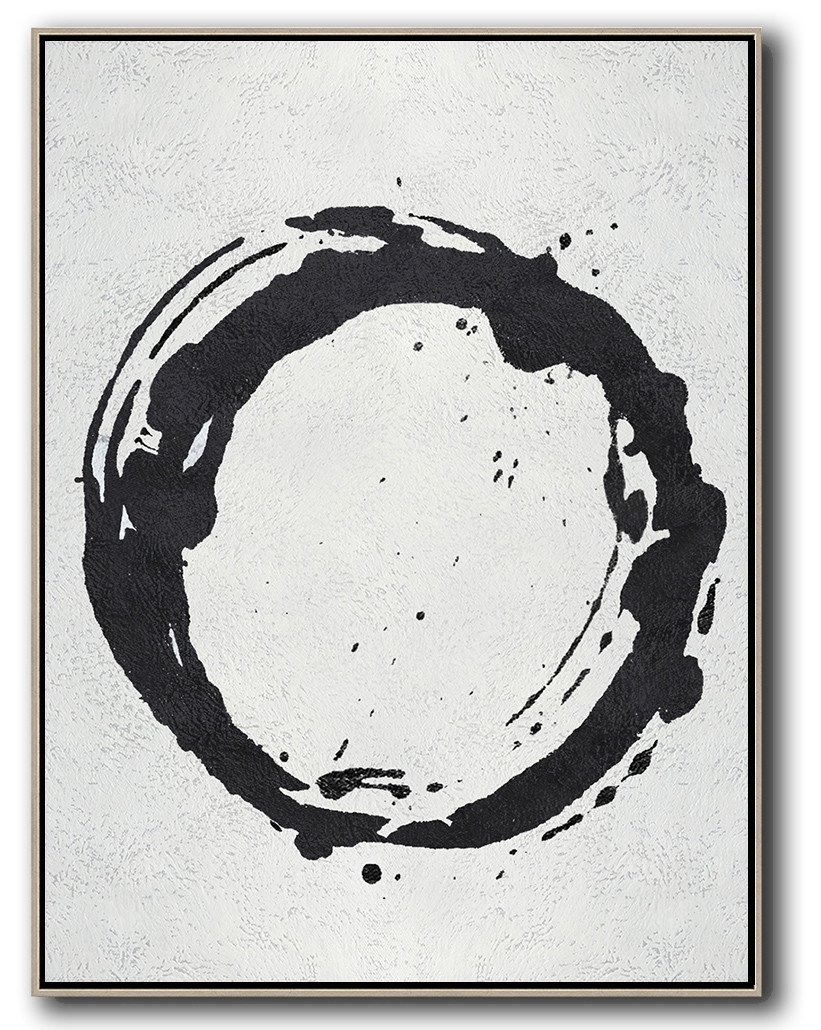 Handmade Large Contemporary Art,Black And White Minimal Painting On Canvas - Modern Canvas Art