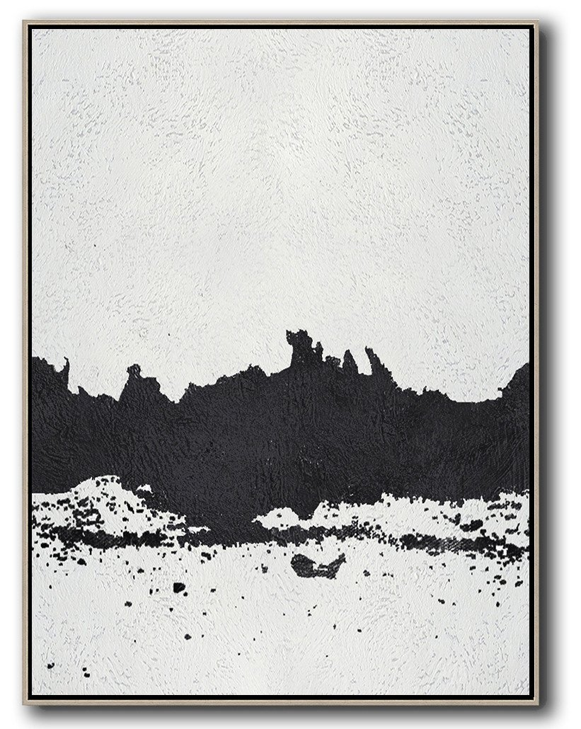 Large Wall Canvas Paintings,Black And White Minimal Painting On Canvas - Custom Oil Painting