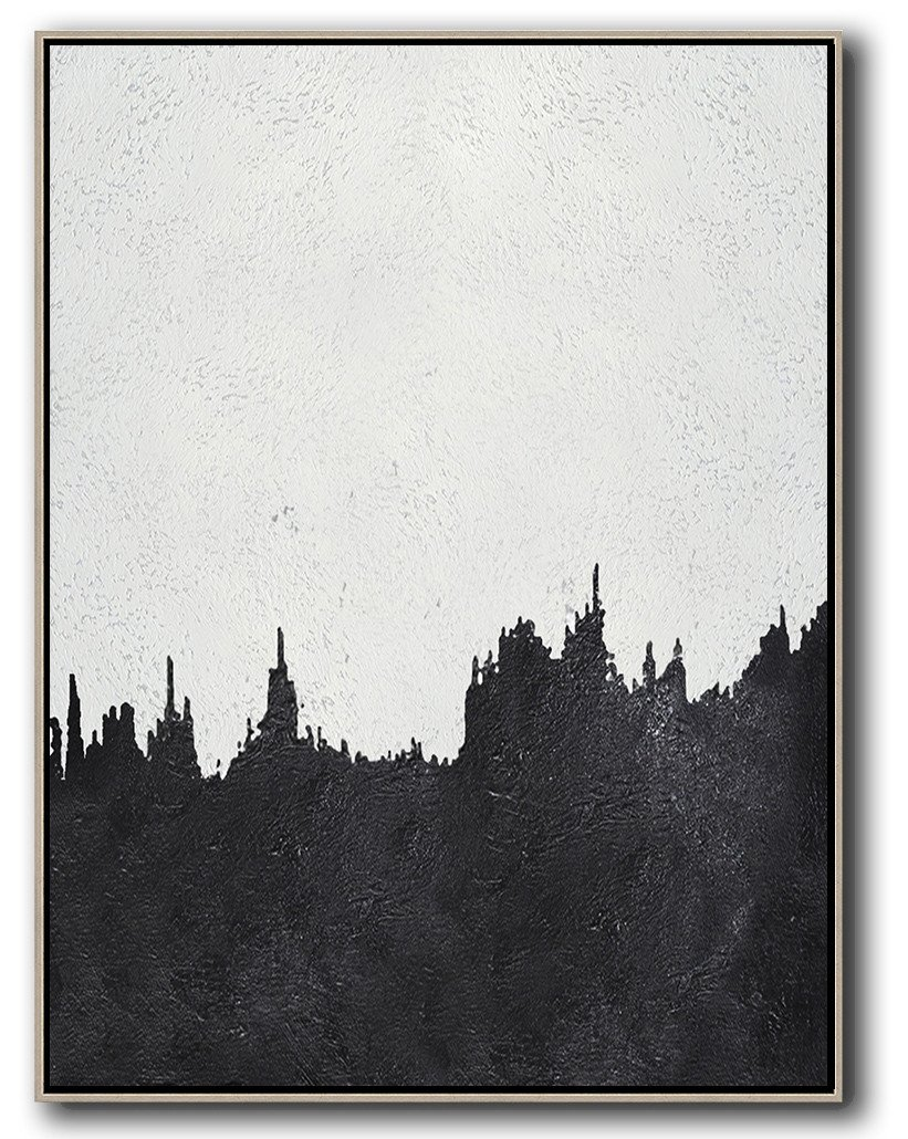 Oversized Wall Decor,Black And White Minimal Painting On Canvas - Abstract Artwork Online